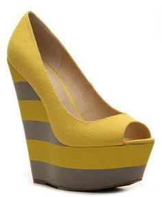 Yellow stripe wedge heels