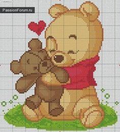 Winnie the phoo Cross Stitch Baby, Cross Stitch Animals, Disney Cross Stitch Patterns, Cross Stitch Designs, Cross Stitching, Cross Stitch Embroidery, Crochet Pixel, Stitch Disney, Crochet Carpet