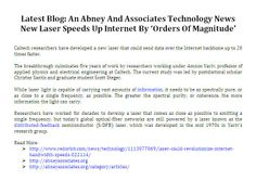 Latest Blog: An Abney And Associates Technology News - New Laser Speeds Up Internet By 'Orders Of Magnitude'