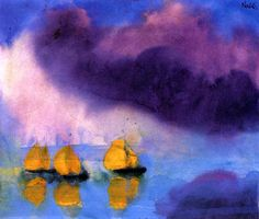 """bofransson: """" Sea with Violet Clouds and Three Yellow Sailboats Emile Nolde - 1946 """""""
