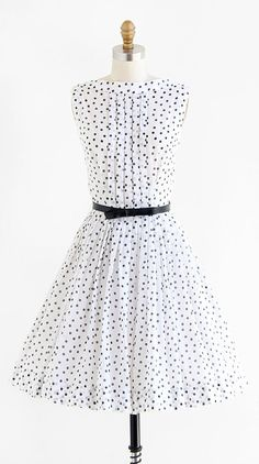 vintage 1950s black + white polkadot party dress with matching bow belt | http://www.rococovintage.etsy.com