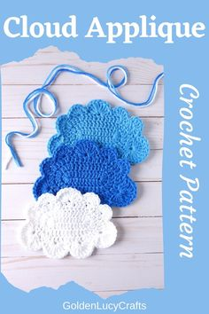 Crochet cloud applique, free pattern. Such large cloud will look great on your windows, pillows, blankets or any other project! Crochet pattern, applique, motif, embellishment. Crochet Appliques, Crochet Motif, Free Crochet, Crochet Patterns, Easy Crochet Projects, Crochet Ideas, Clouds Pattern, Novelty Items, Keychains