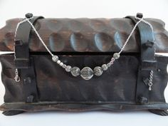 Oxidized Corrugated Graduated Metal Bead Necklace by TheSilverJewelryBox