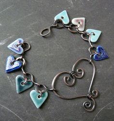Copper and porcelain heart bracelet by RoundRabbit, via Flickr