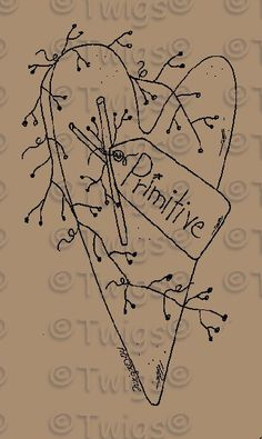 Primitive Snowman Patterns | Primitive Patterns - Stitcheries - Hearts and Stars - Primitive Heart ...