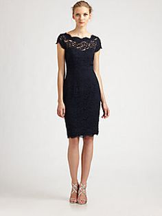 For L's Wedding - ML Monique Lhuillier - Diamond-Back Lace Dress (In Navy)