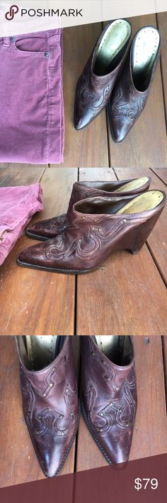 """{BCBGirls} Brown Cowboy Boot Mules 7 VGUC! Loved but tons of life left and wear adds to the character and feel of a real cowgirl boot! Studded, western design. Wedge heel is 4.5"""" high. Super comfortable slip on mules with sass! Pointed toe. Timeless classic with a modern twist. Genuine leather upper with man made liner and sole. Offers warmly welcomed! BCBGirls Shoes Mules & Clogs"""
