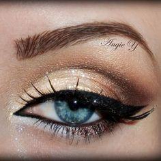 Sparkle and shimmer like the glam girl you are with a beautiful gold smokey. Add sky high lashes to top off the look.