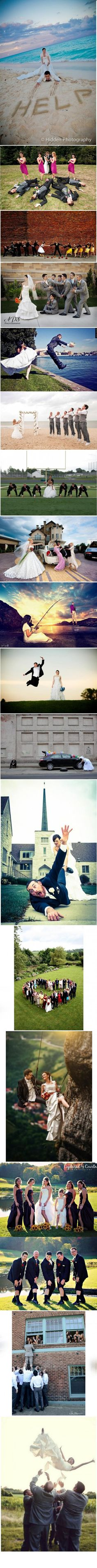 Unusual and fun wedding photos I like the end pictures, the first one I don't really like for wedding pictures Please repin if you like it! Check out more of my pins: http://pinterest.com/treypeezy