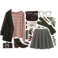 Breton stripe top with full grey mini skirt and khaki pea coat