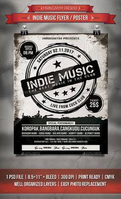 Indie Music Flyer / Poster Template PSD
