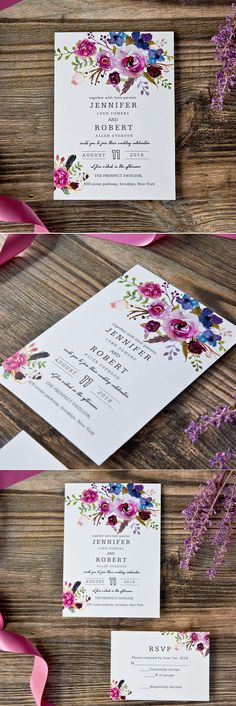 floral shades of purpe boho style wedding invitations #wedding#invitations#weddingcolors#trends20172018
