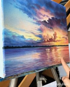 Ocean Paintings On Canvas, Acrylic Painting Canvas, Acrylic Landscape Painting, Acrylic Painting Lessons, Acrylic Art, Canvas Painting Tutorials, Diy Canvas Art, Cool Art Drawings, Landscape Paintings