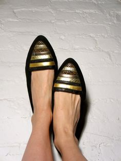 1980's Black Suede Leather Striped Flats.. if only they were my size