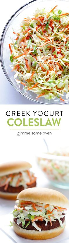 Greek Yogurt Coleslaw -- lighter, mayo-free, delicious, and ready to go in 5 minutes! | gimmesomeoven.com From @gimmesomeoven