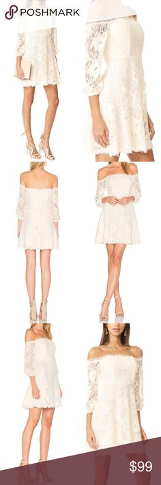 """BB Dakota Sexy Lace Jasmin Date Dress Off Shoulder MSRP $188 Sold out on Shopbop/Revolve  Size 10 Color Alabaster (creamy ivory)  A pretty BB Dakota off-shoulder dress in delicate french lace. Boned bodice. Nonslip rubber binding at the elastic top hem. Long sleeves and elastic cuffs Hidden back zip Lined  NWT; no flaws Shell: 57% rayon/33% nylon/10% cotton Lining: 100% poly Hand wash/dry clean  Measures flat approx Length 30"""" (Neckline to hem) Chest 18"""" Waist 15"""" Hips 22""""  Offers warmly…"""