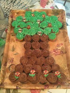 Woodland creature tree cupcake cake