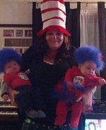 Cat in The Hat with Thing 1 and Thing 2 Homemade Costume