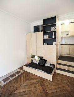 Studio Paris 9è - atelier 3.4.5 aménagement petit espace / menuiserie sur mesure / estrade