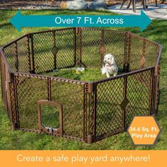 (This is an affiliate pin) North States MyPet 34 Sq. Ft. Petyard Passage: 8-panel pet enclosure with lockable pet door. Freestanding #DogFence Pet Door, Small Doors, Swinging Doors, Play Yard, Home Safes, Pet Cage, Dog Fence, Hexagon Shape, Indoor Outdoor