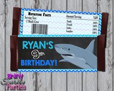 Shark Candy Bar Wrappers - Printable (Digital File Only)