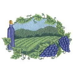 Vineyard embroidery design