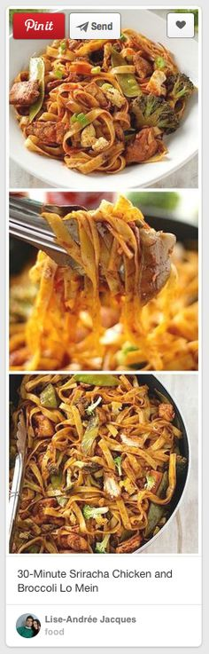 Sriracha Chicken and Broccoli Lo Mein – So much better than take-out, and so easy to make at home! Sriracha Chicken and Broccoli Lo Mein – So much better than take-out, and so easy to make at home! I Love Food, Good Food, Yummy Food, Pasta Dishes, Food Dishes, Main Dishes, Asian Recipes, Healthy Recipes, Sriracha Recipes