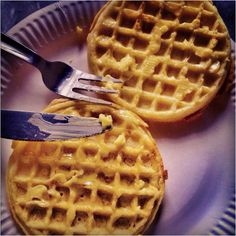 """These are Eggos wanting to be so much more. I cannot support this. If I had a """"foods I do not like"""" board, they would be there. As it is, this picture makes me weep for the beautiful name of waffle and is therefore quite """"heartfelt."""""""