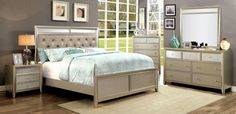 Features:  -Frame construction: Solid wood and wood veneers.  -Finish: Silver.  -Style: Transitional.  -Mirror-paneled headboard.  -Lightly-textured, sandblasted footboard panel.  -Padded faux leather