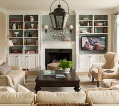 Living room set up (can use different furniture prices). Excellent Built In Bookshelves Around Fireplace Regarding Family Room After Decorating Pic Design Living Room, My Living Room, Home And Living, Living Room Decor, Living Spaces, Small Living, Kitchen Living, Family Room Design With Tv, Narrow Living Room