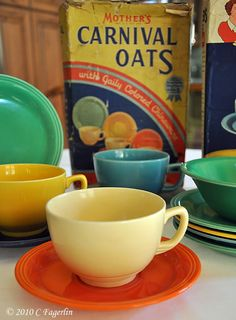 Homer Laughlin dishes and the original Carnival Oats box they came in as a premium
