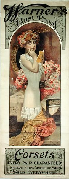 Alfonse Mucha. 1909 Poster advertising 'Warner's Rust Proof Corsets'  Three of my favorite things: Mucha art, corsets and vintage advertising!