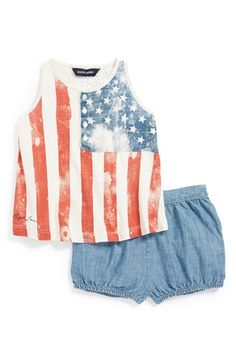 Ralph Lauren Flag Print Tank  amp  Chambray Bloomers (Baby Girls) available  at   045dc7f6ae0