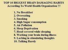 #Health Info: Top 10 biggest brain damaging habits according to World Health Organization