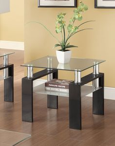 Shop Coaster Furniture Black Glass Top End Table with great price, The Classy Home Furniture has the best selection of End Tables to choose from Black End Tables, Glass Top End Tables, Tempered Glass Table Top, Table Top Design, Coffee Table Design, Bed Design, Coffee Tables, Coaster Furniture, Home Furniture