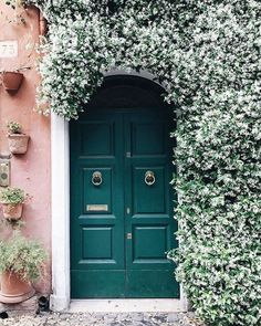 An emerald green door with vintage pull handles is adorned with beautiful white .An emerald green door with vintage pull handles is adorned with beautiful white flowers and leaves in Rome, Italy. Home Design, Illustration Blume, Garden Care, Doorway, Front Door Entrance, House Entrance, Elle Decor, Flower Wall, Cactus Flower