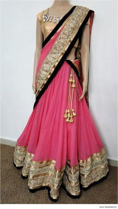 half saree designs is the traditional costume in the South Indian states. It is an easy transition between the childhood pavadai to the grown-up's saree.:
