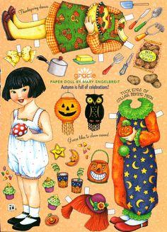 (⑅ ॣ•͈ᴗ•͈ ॣ)♡                                                             ✄Uncut Paper Doll Halloween Autumn Celebration by Mary Engelbreit
