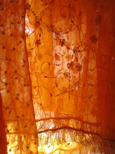 Orange boho curtains