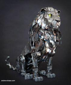 Mechanical Metal Lion Sculpture