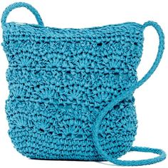 Magid Crochet Straw Crossbody ($17) ❤ liked on Polyvore featuring bags, handbags, shoulder bags, turq, crochet crossbody, straw purses, crossbody purse, blue crossbody handbag and crochet handbags