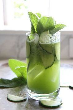 Cucumber Mint Gin Coolers. Seriously?  Three horrible favors poured over ice is still going to taste horrible! Yuk.