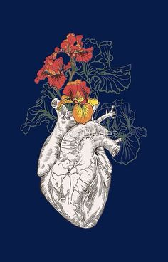 drawing Human heart with flowers by OlgaBerlet More