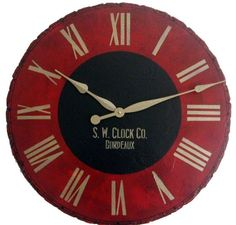 30 in Bordeaux Large Wall Clock  Antique style red by Klocktime, $99.00