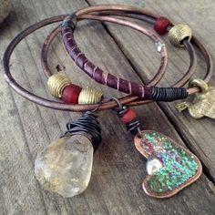 Tribal bangle set with Ashanti amulet, raw citrine: copper bracelet set, stacking bangkes, amulet jewelry, tribal bangles