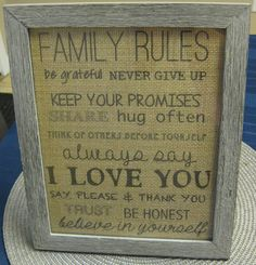 Family Rules Framed Burlap Print by HandMbHillary on Etsy