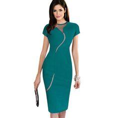 Nice-forever Sexy Illusion Slim Fashion Mesh Women Clubwear Full Zip Back Black Patchwork dress Elegant Slim Pencil Dress B215