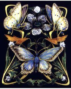 Henri Dubret c 1900 plique a jour enamel & diamond