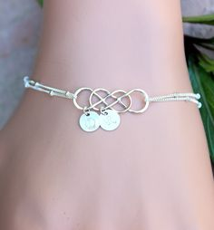 Personalized Sterling Silver Initial Double Infinity Connected  Charm and Small Hand Stamped Pendants Bracelet, Wedding Jewelry for Bridemaid or Gift for Mother's Day or Friendship