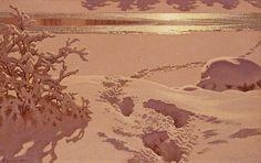 Gustaf Fjaestad - Tracks in the snow/Moonlight, 1899